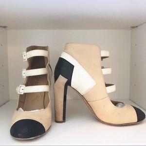 CHANEL | Color Block Beige Ivory & Black Booties